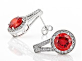Orange and White Cubic Zirconia Rhodium Over Sterling Silver Earrings 7.92ctw