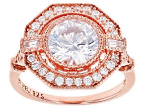 White Cubic Zirconia 18k Rose Gold Over Sterling Silver Ring 4.10ctw
