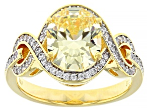 Yellow And White Cubic Zirconia 18K Yellow Gold Over Sterling Silver Ring 5.26ctw