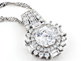 White Cubic Zirconia Rhodium Over Sterling Silver Pendant With Chain 5.10ctw
