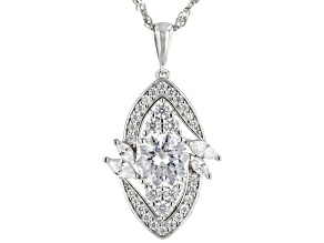 White Cubic Zirconia Rhodium Over Sterling Silver Pendant With Chain 5.07ctw