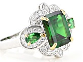 Green and White Cubic Zirconia Rhodium Over Sterling Silver Ring 6.56ctw