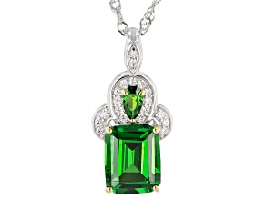 Green and White Cubic Zirconia Rhodium Over Sterling Silver Pendant With Chain 5.87ctw