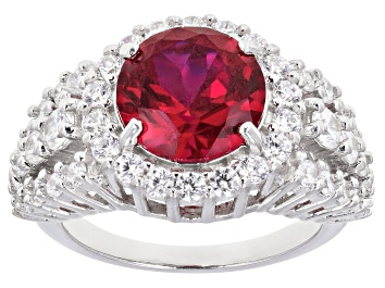 Picture of Lab Created Ruby And White Cubic Zirconia Rhodium Over Sterling Silver Ring 6.81ctw