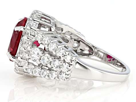 Lab Created Ruby And White Cubic Zirconia Rhodium Over Sterling Silver Ring 6.81ctw