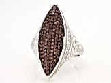 Brown Cubic Zirconia Rhodium Over Sterling Silver Ring 1.23ctw