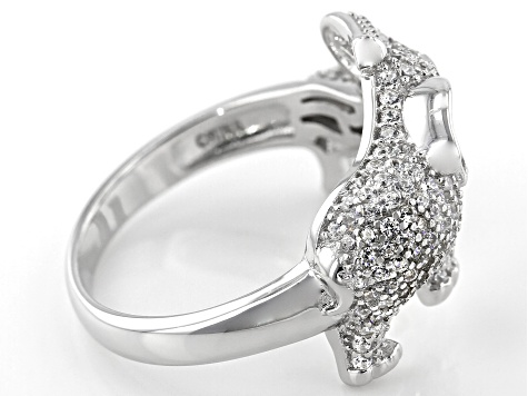 Black and White Cubic Zirconia Rhodium Over Sterling Silver Elephant Ring 1.54ctw
