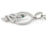 White Cubic Zirconia and Green Nanocrystal Rhodium Over Sterling Snake Pendant With Chain 1.03ctw