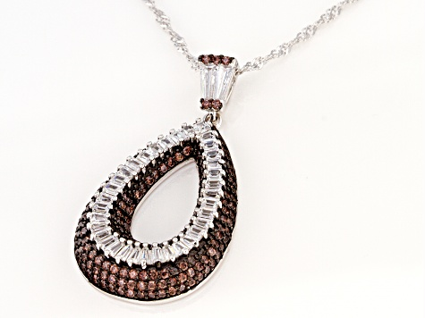 Brown And White Cubic Zirconia Rhodium Over Sterling Silver Pendant With Chain 3.33ctw