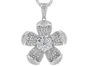 White Cubic Zirconia Rhodium Over Sterling Silver Flower Pendant With Chain 3.20ctw