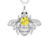 Black, White, and Yellow Cubic Zirconia Rhodium Over Sterling Silver Bee Pendant With Chain 3.04ctw