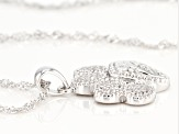 White Cubic Zirconia Rhodium Over Sterling Silver Paw Print Pendant With Chain 0.36ctw