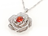 Red And White Cubic Zirconia Rhodium Over Sterling Silver Rose Pendant With Chain 2.90ctw