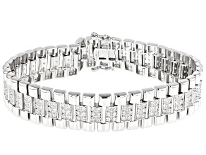 White Cubic Zirconia Rhodium Over Sterling Silver Mens Bracelet 3.41ctw