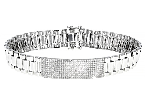 White Cubic Zirconia Rhodium Over Sterling Silver Mens Bracelet 3.77ctw