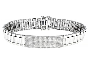 White Cubic Zirconia Rhodium Over Sterling Silver Gent's Bracelet 3.77ctw