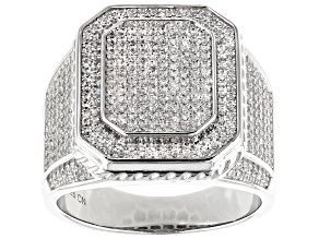 White Cubic Zirconia Rhodium Over Sterling Silver Gent's Ring 5.22ctw