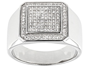 White Cubic Zirconia Rhodium Over Sterling Silver Gent's Ring 1.04ctw