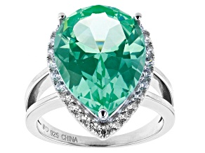 Green Lab Created Spinel And White Cubic Zirconia Rhodium Over Sterling Silver Ring 9.84ctw