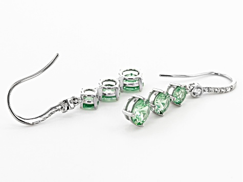 Green Lab Created Spinel And White Cubic Zirconia Rhodium Over Sterling Silver Earrings 2.12ctw