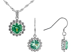 Green Lab Created Spinel And White Cubic Zirconia Rhodium Over Sterling Silver Jewelry Set 10.67ctw
