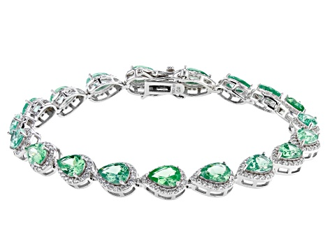 Green Lab Created Spinel And White Cubic Zirconia Rhodium Over Silver Tennis Bracelet 24.76ctw