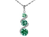 Green Lab Created Spinel And White Cubic Zirconia Rhodium Over Silver Pendant With Chain 10.14ctw
