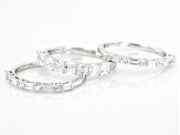 Asshcer Cut White Cubic Zirconia Rhodium Over Sterling Silver Rings-Set of 3 3.54ctw