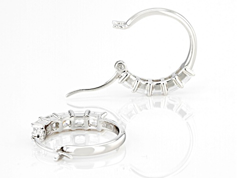Asscher Cut White Cubic Zirconia Rhodium Over Sterling Silver Hoop Earrings 2.23ctw