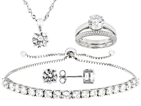 White Cubic Zirconia Rhodium Over Sterling Silver Jewelry Set 17.52ctw