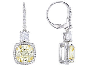 Yellow And White Cubic Zirconia Rhodium Over Sterling Silver Earrings 11.98ctw