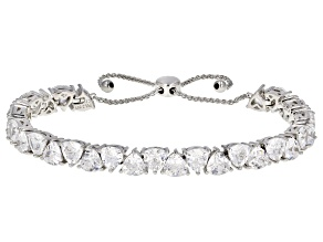 White Cubic Zirconia Rhodium Over Sterling Silver Adjustable Bracelet 21.62ctw