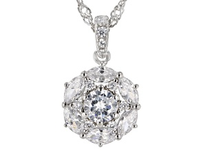 White Cubic Zirconia Rhodium Over Sterling Silver Pendant With Chain 2.49ctw