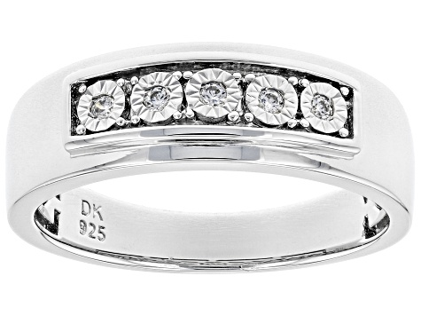 White Cubic Zirconia Rhodium Over Sterling Silver Mens Ring 0.15ctw