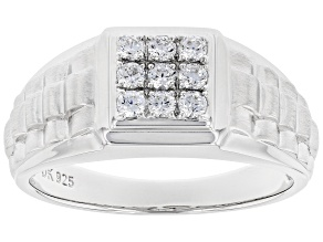 White Cubic Zirconia Rhodium Over Sterling Silver Mens Ring 1.08ctw
