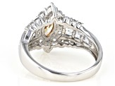Champagne and White Cubic Zirconia Rhodium Over Sterling Silver Ring 4.05ctw