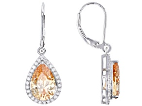 Champagne And White Cubic Zirconia Rhodium Over Sterling Silver Earrings 12.05ctw