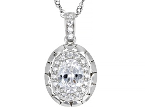 White Cubic Zirconia Rhodium Over Sterling Silver Pendant With Chain 2.22ctw