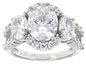 Picture of White Cubic Zirconia Rhodium Over Sterling Silver Ring 6.95ctw