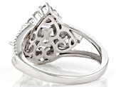 White Cubic Zirconia Rhodium Over Sterling Silver Ring 5.48ctw