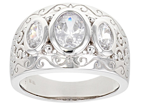 White Cubic Zirconia Rhodium Over Sterling Silver Ring 3.22ctw