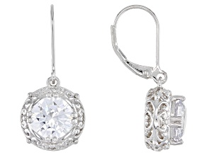 White Cubic Zirconia Rhodium Over Sterling Silver Earrings 6.68ctw