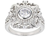 White Cubic Zirconia Rhodium Over Sterling Silver Ring 2.54ctw
