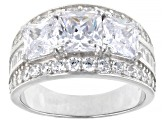 White Cubic Zirconia Rhodium Over Sterling Silver Ring 6.42ctw