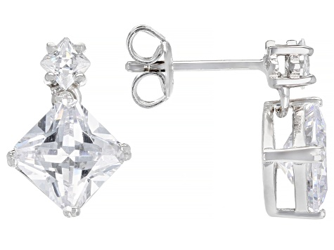 White Cubic Zirconia Rhodium Over Sterling Silver Earrings 5.75ctw