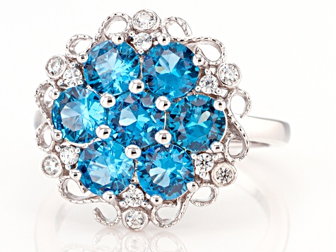 Lab Blue Spinel And White Cubic Zirconia Rhodium Over Sterling Silver Ring 3.05ctw