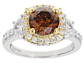 Mocha And White Cubic Zirconia Rhodium Over Sterling Silver Ring 5.02ctw