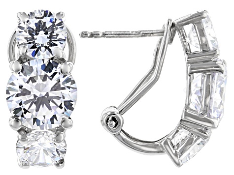 White Cubic Zirconia Rhodium Over Sterling Silver Earrings 13.98ctw