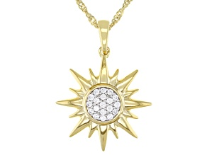 White Cubic Zirconia 18k Yellow Gold Over Sterling Silver Star Pendant With Chain 0.28ctw