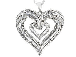 White Cubic Zirconia Rhodium Over Sterling Silver Heart Pendant With Chain 1.77ctw
